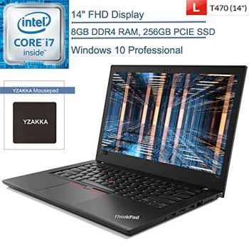 "2020 Lenovo ThinkPad T470 14"" FHD Business Laptop Computer, Intel Core i7-6500U up to 3.1GHz, 8GB DDR4 RAM, 256GB PCIE SSD, 802.11ac WiFi, Bluetooth 4.1, USB Type-C, Windows 10 Pro, YZAKKA Accessories"