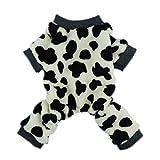 Fitwarm Adorable Milk Cows Pet Dog Clothes Comfy Velvet Winter Pajamas Coat Jumpsuit, Large