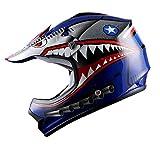 WOW Youth Kids Motocross BMX MX ATV Dirt Bike Helmet Shark Blue