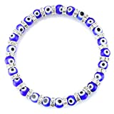 JewelrieShop Turkish Evil Eye Bracelet Murano Glass Beads Beaded Clear Crystal Spacer Bracelet for Women Girls (6mm Blue Eye Beads)