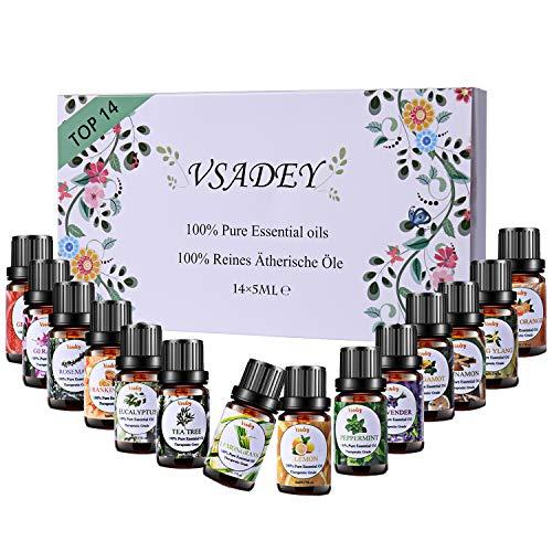 VSADEY Oli Essenziali di Aromaterapia Top 14 Olio Essenziale per Diffusori di Alta Qualit Naturale 100% Puri e Naturale per la Sauna,Umidificatore, Massaggio Scatola Set Regalo Ideale