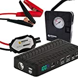 Rugged Geek RG1000 Safety Plus 1000 Amp Portable Car Jump Battery Pack Jump Box and USB/Laptop Power Supply with LED Display, INTELLIBOOST Safe Cables, Flashlight, and 12V AIR COMPRESSOR/PUMP!