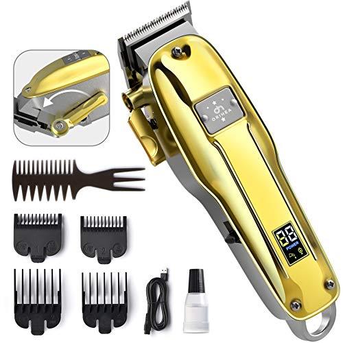 Haarschneidemaschinen Profi, OriHea Haartrimmer Herren, Kabelloser Barttrimmer Herren Haarpflege-Satz mit LED-Anzeige, wiederaufladbarer 2200-mAh-Akku mit 3-Stunden Laufzeitd, Leise-Gold