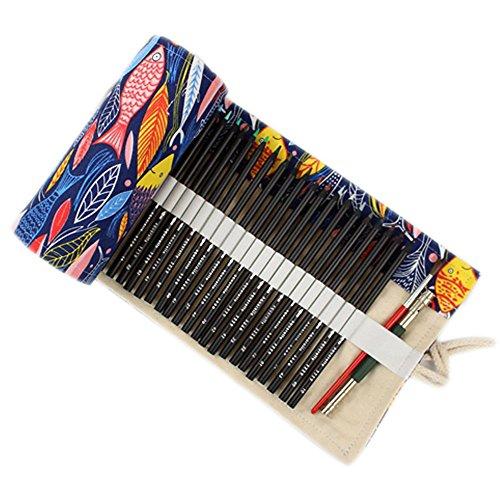 ONEGenug colorato Sacchetto della matita, 48 fori, Borsa per penne, Astuccio, Roll Up Pencil Pouch,...