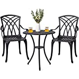 Nuu Garden 3 Piece Aluminum Outdoot Bistro Set Patio Table Sets Outdoor Furniture with Umbrella Hole for Yard,Balcony– Antique Bronze