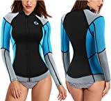 CtriLady Wetsuit Top, 1.5mm High-Necked Women's Wetsuit Long Sleeve Jacket Neoprene Wetsuits with Front Zipper for Swimming, Diving, Surfing, Boating, Sauna, Fitness and Sweating(Blue, M)