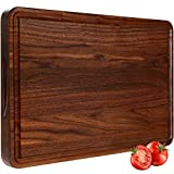 AZRHOM Large Walnut Wood Cutting Board for Kitchen 17x11 Cheese Charcuterie Board (Free Gift Box)...