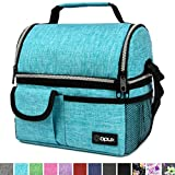 OPUX Insulated Dual Compartment Lunch Bag for Men, Women | Double Deck Reusable Lunch Pail Cooler Bag with Shoulder Strap, Soft Leakproof Liner | Large Lunch Box Tote for Work, School (Turquoise)