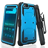 COVERLAB Rugged Holster Case Compatible for ZTE ZFive C,ZFive G,N9137,Z557BL,Z558VL,Tempo Go,Tempo X,Blade Vantage,Avid 4 [Built In Screen Protector] [Belt Clip]] Kickstand - Blue