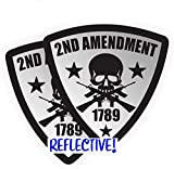 Pair - REFLECTIVE 2nd Amendment Hard Hat Stickers | Motorcycle Shield Helmet Decals | Badges Labels | Toolbox Diesel Mechanic Freedom Patriotic USA American Old Glory