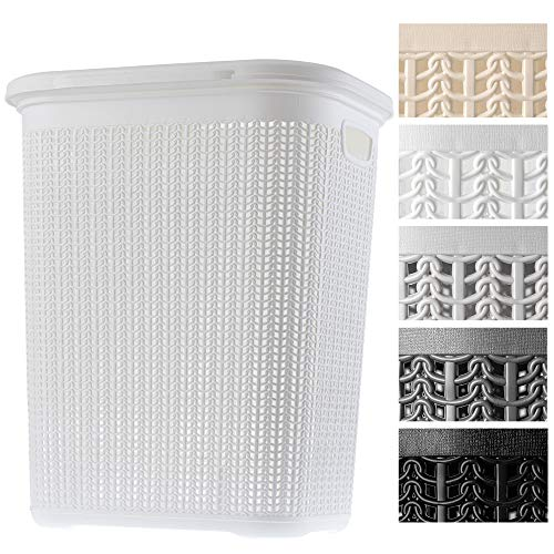 KADAX Wäschekorb, 50L, multifunktionale Wäschetruhe mit Deckel, Leichter Wäschesammler, Wäschesortierer aus Kunststoff, für Bad, schmutzige Kleidung, Spielzeug, Wäschebox (weiß)