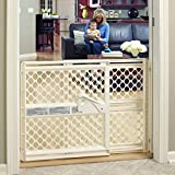 """Toddleroo by North States 42"""" Supergate Ergo Baby Gate Great for doorways or stairways, Includes Wall Cups for Extra Holding Power, Pressure or Hardware Mount, 26"""" - 42"""" Wide, 26' Tall, Ivory"""