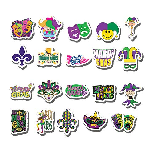 20 PCS Stickers Pack Mardi Gras Aesthetic Vinyl Carnival Fat Tuesday Colorful Waterproof for Water Bottle Laptop Scrapbooking Luggage Guitar Skateboard