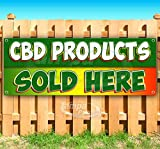 Cbd Products Sold Here 13 oz Banner   Non-Fabric   Heavy-Duty Vinyl Single-Sided with Metal Grommets