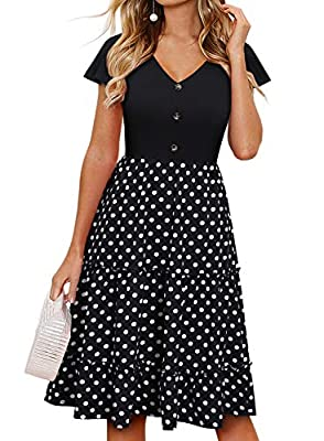 💕 FLATTERING RUFFLE SLEEVES AND BUTTON DECOR : Unique flutter ruffle sleeves add more cute details and some pizzazz to the dress. It doesn't show to much armpit when you raise your arms either, Also the flutter ruffles can somehow manage to balance o...