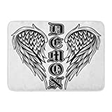 Emvency Doormats Bath Rugs Outdoor/Indoor Door Mat Angel Abstract Black and White Wings Inscription Demon in The Gothic for Tattoo Devil Bathroom Decor Rug Bath Mat 16' x 24'