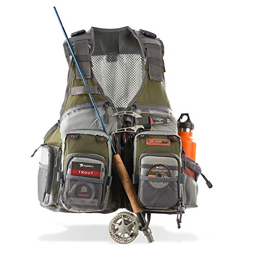 Anglatech Fly Fishing Vest Pack for Trout Fishing Gear, Adjustable Size for Men and Women