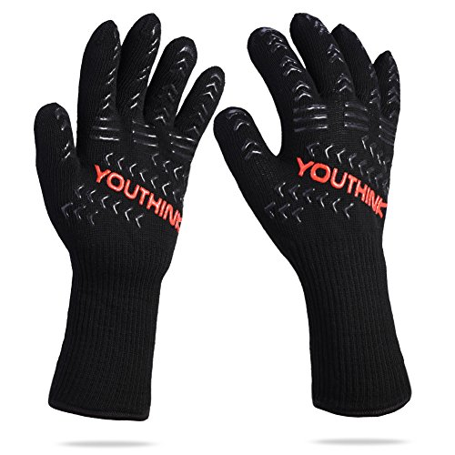 YOUTHINK BG Extra Forearm Protection Kitchen Oven Mitts, 1 BBQ Cooking Gloves, 1472°F Extreme Heat Resistant Grilling Gl, Black/Red