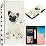 XYX Wallet Case for LG Stylo 5 /LG Stylo 5 Plus/LG Stylo 5V /LG Stylo 5X, Colorful PU Leather Flip Wallet Case Cover Kickstand with Card Slots and Wrist Strap, Pug
