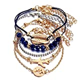 STRASS & PAILLETTES Ensemble de 6 Bracelets Voyage Noir et Or. Bracelet...