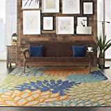 Nourison Aloha Indoor/Outdoor Floral Blue Multicolor 7'10' x 10'6' Area Rug (8'x11')