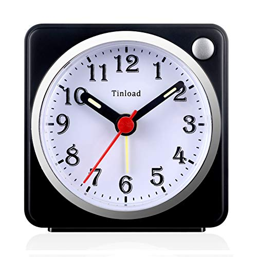 Tinload Small Analog Travel Alarm Clock Silent Non Ticking, Snooze, Ascending Beep Sounds, Battery Operated,Light Functions, Easy Set