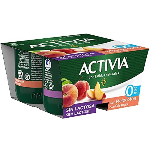 Activia con Melocotón 0% M.G. Sin Lactosa 4x120 g