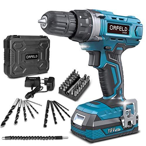 ORFELD Trapano avvitatore batteria, accessori 45 pezzi, batteria al litio da 18 V 2000 mAh, 30 Nm, 19 + 1 paia, 2 modalit di velocit, mandrino da 10 mm blu leggero