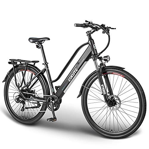 """ESKUTE 28"""" Vélo Electrique 250W Vélo de Ville, Vélo à Assistance Électrique Batterie Lithium-ION 36V/10Ah Amovible Cachée, Shimano 7 Vitesses, Frien à Double Disque, e-Bike Urbain pour Adulte"""