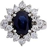 3 Carat Natural Blue Sapphire and Diamond (F-G Color, VS1-VS2 Clarity) 14K White Gold Engagement Ring for Women Exclusively Handcrafted in USA