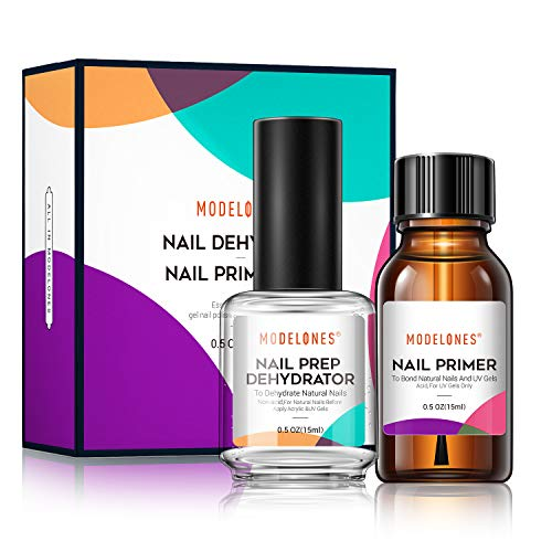 Modelones Professional Natural Nail Prep Dehydrate & Bond Primer, Nail Protein Bond, Superior Bonding Primer for Acrylic Powder and Gel Nail Polish 0.5 oz