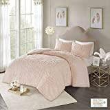 Madison Park Laetitia Comforter Set Bohemian Tufted 100% Cotton Chenille, Large Medallion, Shabby Chic Cozy All Season Down Alternative Bed Set with Matching Shams Full/Queen, 3 Piece, Floral Blush