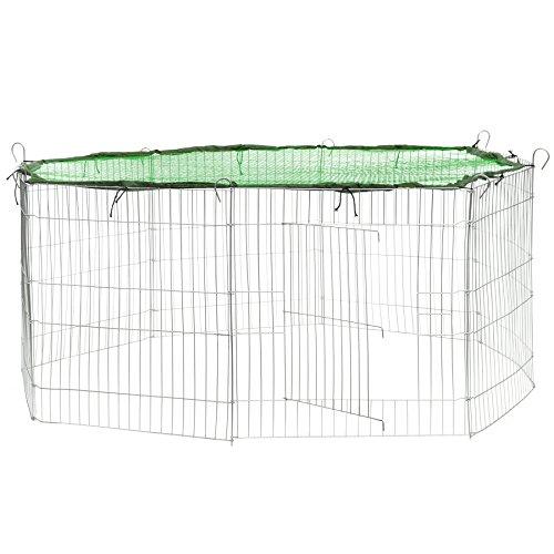 TecTake Freilaufgehege mit Schutznetz für Nager und Kleintiere | aus 8 Elementen Ø 145 cm - Diverse Farben - (Netz Grün | Nr. 402394)
