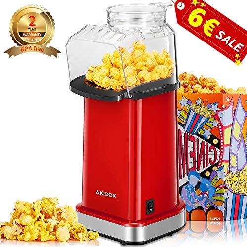 Aicook Popcornmaschine, 1400W Automatische Popcorn Maker Machine für Zuhause, Weit-Kaliber-Design inkl. Messlöffel, Heissluft Ohne Fett Fettfrei Ölfrei, BPA-Frei