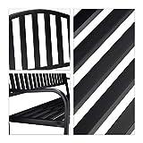 Relaxdays Gartenbank mit Klapptisch, 3-Sitzer, integrierte Tischablage, wetterfest, HxBxT 90 x 150 x 57,5 cm, schwarz - 8