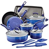 Rachael Ray Brights Nonstick Cookware Pots and Pans Set, 14 Piece, Blue Gradient