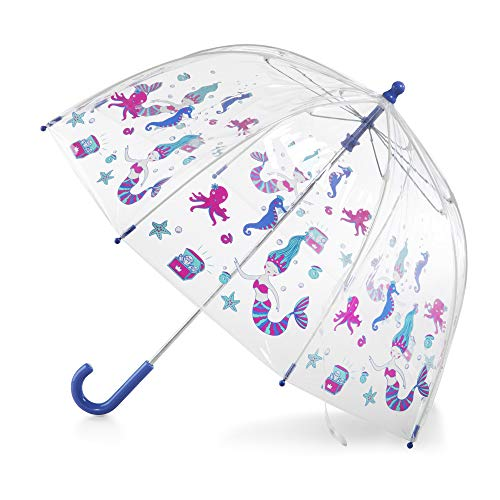 totes Kid's Clear Bubble Umbrella with Easy Grip Handle, Blue/Green Ocean Princess