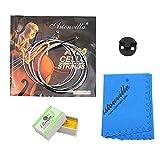 Almencla 4pcs Violoncelle Accessoires Cordes Caoutchouc Muet Colophane Chiffon De Nettoyage Kit Remplacements