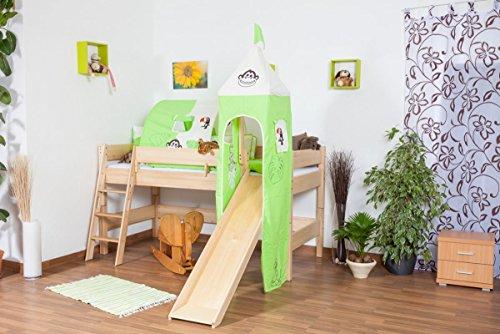 Kinderbett Hochbett Tom mit Rutsche und Turm inkl. Rollrost - Material: Buche massiv natur, Farbe: klar lackiert