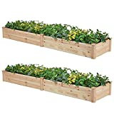AMERLIFE Raised Garden Bed 8x2 FT - 2PC Wood Raised Garden Bed Kit Wooden Planting Bed Solid Wood for Vegetable Flower Herb Outdoor Lawn Yard Patio