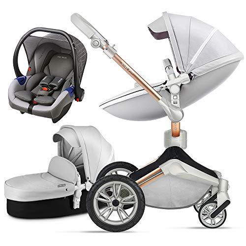 Hot Mom 3 in 1 Passeggino con passeggino e passeggino 360 passeggino girevole, sospensione...
