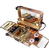 Maletín de maquillaje 2 en 1 con ruedas extraíbles con luz LED de atenuación profesional para artistas dorado 29x22.5x40cm