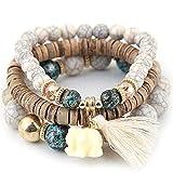 CH01 Women Girls Handmade Elephant Turquoise Beaded Bracelets,White