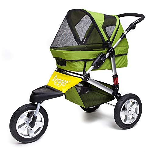 Dogger Stroller | Comfortable Dog Stroller | Sturdy Ride for Senior Dogs, Small Dogs or Cats | 3 Wheeler Pet Carrier Stroller | Easy Folding (Green)