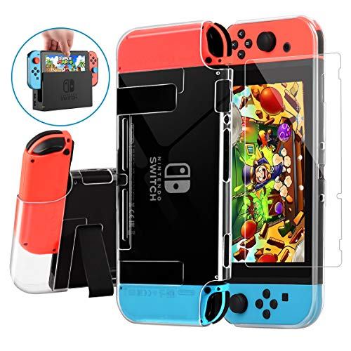 Nintendo Switch Case Dockable,AISITIN Clear Protective Case Cover for Nintendo Switch and Joy-Con Controller with a Switch Tempered Glass Screen Protector and Thumb Stick Caps