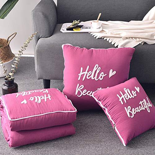 ZJJKLY Manta de cojín 2 en 1 sofá de Coche Manta de Almohada de Tiro Lumbar Manta edredón de Aire Acondicionado Manta de edredón de Retazos Plegable Nueva