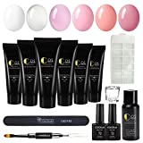 Coscelia 6 Colors Poly Nail Gel Enhancement Kit Top and Base Coat Nail Extension False Nail Tips All-in-One French Kit