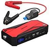 DBPOWER 800A Peak 18000mAh Portable Car Jump Starter (up to 7.2L Gas/5.5L Diesel Engine) Portable Battery Booster with Smart Charging Port, Compass, LCD Screen & LED Flashlight (Red)