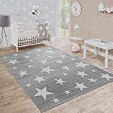 Kids Room Rug Starry Sky Design Star Trend for Playroom Pastel in Grey White, Size:5'3' x 7'3'