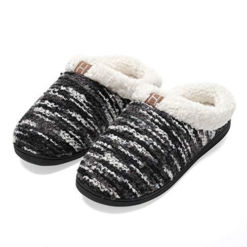 Zapatillas de casa Hombre, Forro algodón, Ultraligero cómodo y Antideslizante, Pantuflas de casa para Hombre, Negro, 44/45 EU
